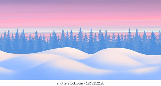 Fantasy on the theme of the winter landscape. Sunset sky, forest and snow drifts. Vector illustration, EPS10