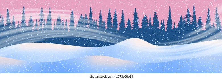 Fantasy on the theme of the winter landscape. Snow drifts, forest, blizzard and snowfall. Vector illustration, EPS10