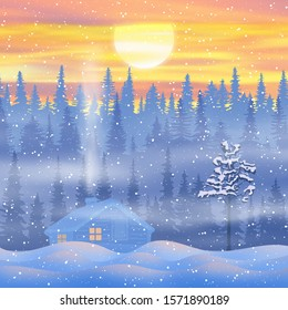 Fantasy on the theme of the winter landscape. The sun sets behind the trees. Forest and small hut, snowfall. Vector illustration, EPS10