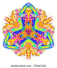 Fantasy ornament done in kaleidoscopic style. Stylized illustration of flower. Geometric vector image.