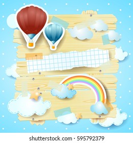 Fantasy panel with hot air balloons and copy space. Vector illustration