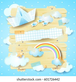 Fantasy panel with paper boat and rainbow, vector illustration