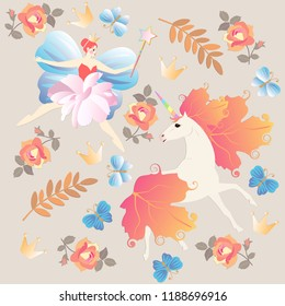 Fantasy pattern with winged fairy ballerina, magic wand, unicorn, rose flowers, blue butterflies, autumn leaves,  isolated on beige background in vector.