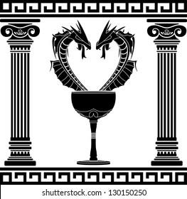 fantasy pharmacy symbol. second variant. stencil. vector illustration