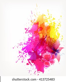 Fantasy Pink vector background with colorful flower and blots. Abstract floral elements .Bright Colorful Banners with Watercolor floral elements.