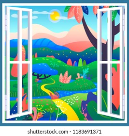 Fantasy place with wonderful leaves, glades and small river. An open window into the world of miracles and fantasies,  dreams illustration, place for escape and meditation. Favorite corner of nature.