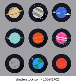 Fantasy planet icons set. Vector astronomic abstract illustration. Flat design