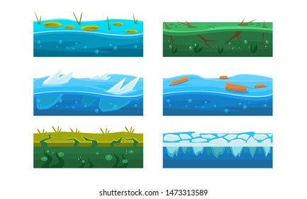 Fantasy Platforms Set, Water and Ice Textures for Mobile or Computer Games User Iinterface Vector Illustration