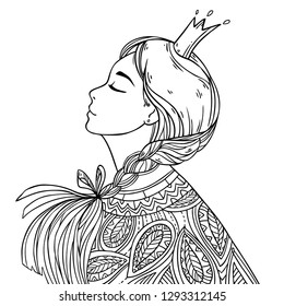Fantasy romantic princess, young beautiful girl with with crown and abstract decorative flower pattern. Vector illustration on white background for coloring art