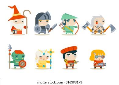 Fantasy RPG Game Character Icons Set Vector Illustration