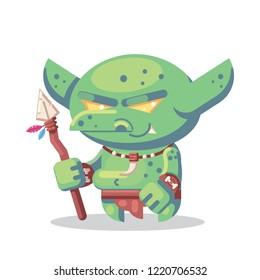 Fantasy RPG Game Character monsters and heros Icons Illustration. evil goblin barbarian, warrior npc with spear