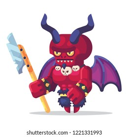 Fantasy RPG game Game Character monsters and heros Icons Illustration. Hell warrior, demon, devil, satan with horns, wings and glaive