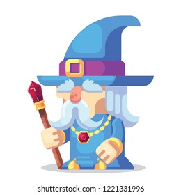 Fantasy RPG game Game Character monsters and heros Icons Illustration. Old wizard with staff and beard in pointed hat