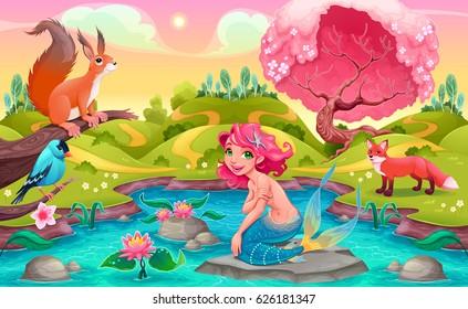 Fantasy scene with mermaid and animals. Vector cartoon illustration