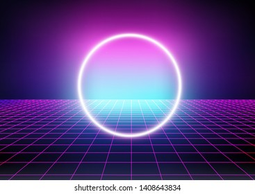 Fantasy sci-fi cosmic virtual reality retrofuturistic cyber landscape of arcade video game with neon 3d laser grid. Synthwave/ vaporwave/ retrowave style illustration, aesthetics of 80s-90s.