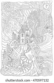 Fantasy sea landscape. Fairy tale medieval castle on a fantastic island. Stylized foliage.T-shirt print. Album cover, card. Adults and children coloring book. Black, white. Batik vertical page