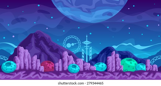 Fantasy  seamless background for mobile game, layered