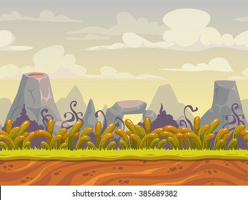 Fantasy seamless nature landscape, vector background for game design, separated layers for parallax effect