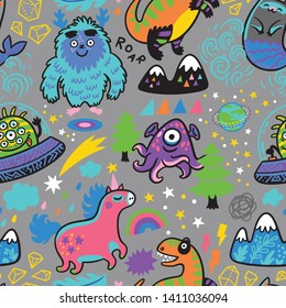 Fantasy seamless pattern with magic creatures in cartoon style. Yeti, aliens, mermaid, unicorn and dino. Vector illustration