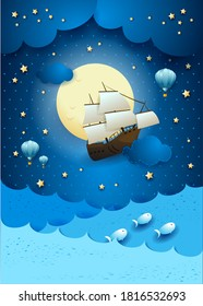 Fantasy seascape with flying vessel and full moon. Vector illustration eps10