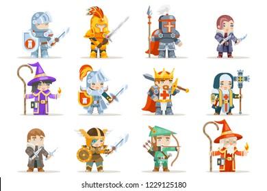 Fantasy set rpg game character heroes vector icons flat design vector illustration