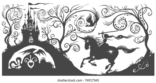 Fantasy silhouette illustration with girl on horse.