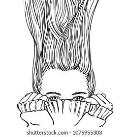 Fantasy sketch of teenage girl with long hair blowing up, hiding her face in warm knitted sweater, Hand drawn vector illustration