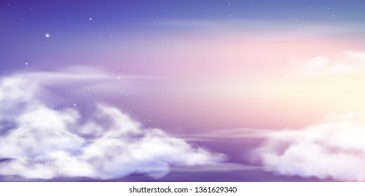 Fantasy sky. Beautiful fairy skies, fantastic dream clouds and fabulous cloudy sky pastel colors. Purple fantasy skies wallpaper or magic night cosmic sky vector background illustration
