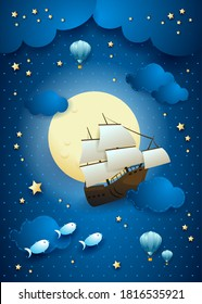 Fantasy sky with flying vessel and full moon. Vector illustation eps10