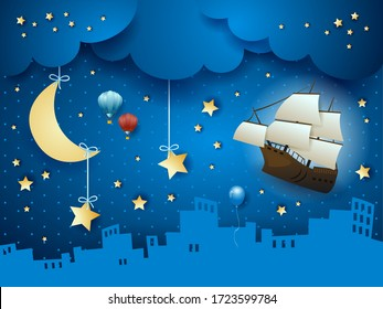 Fantasy skyline with flying ship and hanging moon. Vector illustration eps10