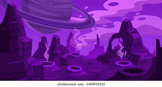 Fantasy space cartoon game concept background. Funny sci-fi alien planet landscape for a space arcade game level design. Vector isolated