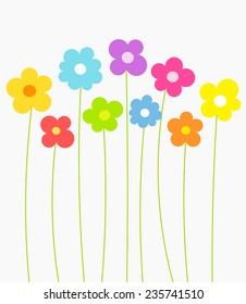Fantasy spring flowers growing. Vector illustration