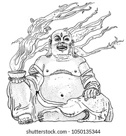 Fantasy stone Budai, Hotei or fat Buddha, asian folkloric deity with a steaming cup, gesture of metal horns and the third Eye. Hand drawn black and white vector illustration. Rock, heavy metal design.