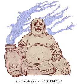 Fantasy stone Budai, Hotei or fat Buddha, asian folkloric deity with a steaming cup, gesture of metal horns and the third Eye. Hand drawn vector illustration. Rock, heavy metal sticker print design.