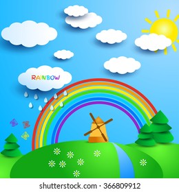 Fantasy sunny landscape with windmill and rainbow. Sunny day in countryside. Sun and clouds, trees and river, flowers and butterflies. Cute cartoon style. Vector illustration for beautiful design.