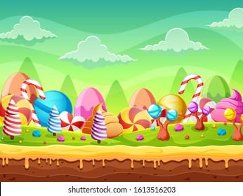 Fantasy Sweet candy land panorama of illustration