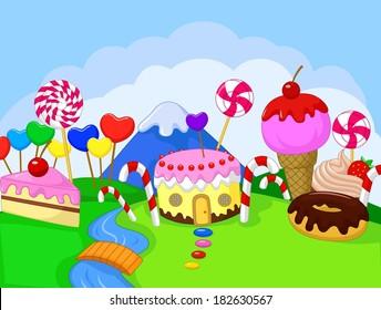 Fantasy sweet food land