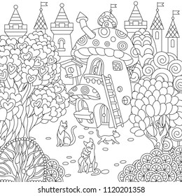 Fantasy town. Fairytale mushroom house, magic heart shaped trees and cats. Coloring page. Colouring picture. Coloring book. Freehand sketch drawing. Vector illustration.