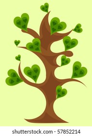 Fantasy tree with heart-shaped leaves