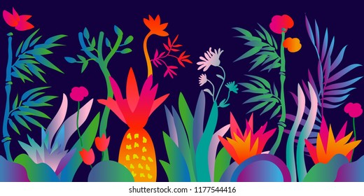 Fantasy tropical forest. Colorful pattern with abstract flowers, trees and plants. Trendy design for textile and cards. Gradient border on dark background.