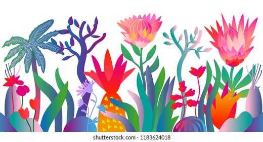 Fantasy tropical jungle. Colorful pattern with abstract lotus flowers, palm trees and other plants. Trendy design for textile and cards. Gradient border on white background.