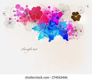 Fantasy  vector background with colorful flowers and butterflies. Abstract floral elements .