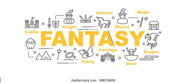 fantasy vector banner design concept, flat style with thin line art icons on white background