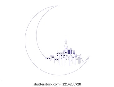 Fantasy vector illustration of Mont Saint Michel and moon