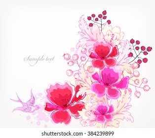 Fantasy Watercolor vector background with colorful flowers and blots. Abstract floral elements .Floral invitation.