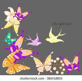 Fantasy Watercolor vector background with colorful flowers and butterflies. Abstract floral elements .Floral invitation. Hand drawn butterflies.