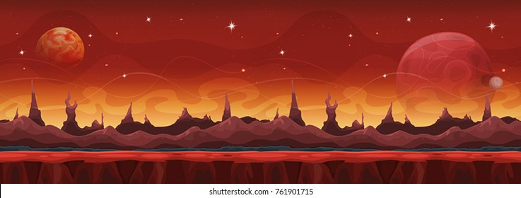Fantasy Wide Sci-fi Martian Background For Ui Game Illustration of a wide seamless cartoon funny sci-fi alien planet landscape background, with layers for parallax including weird mountains range