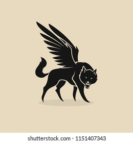 Fantasy wolf with wings - werewolf - isolated vector illustration