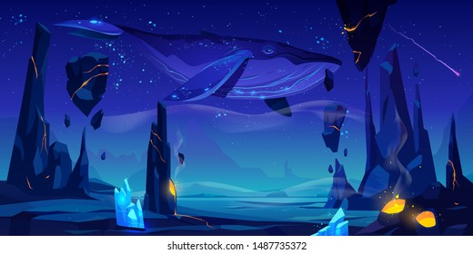 Fantasy world, alien planet, strange dream, another dimension illusion cartoon vector background. Whale flies in night starry sky under desert with active volcano and levitating stones illustration