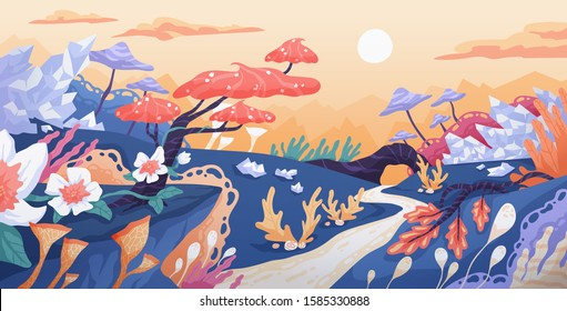 Fantasy world flat vector illustration. Fantastic location, unrealistic flora, magic plants, fairy flowers and trees. Imaginary kingdom concept. Fanciful place, magical forest, beautiful landscape.